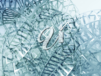 Abstract blue digital graphic background, intersected physical wire-frame structures.. 3d render illustration