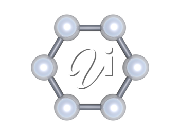 Graphene molecular cluster, top view. Hexagonal structure made of carbon atoms isolated on white background, 3d illustration