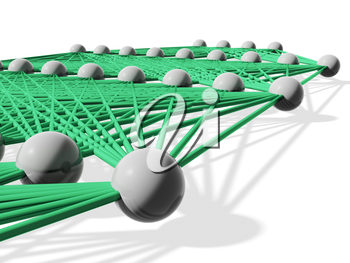 Artificial neural network, layers with green links isolated on white, 3d illustration