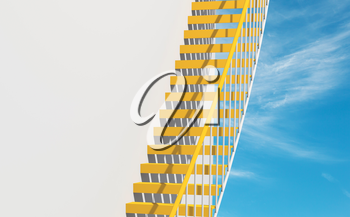Modern architecture background, yellow metal stairs goes over round white wall, 3d illustration