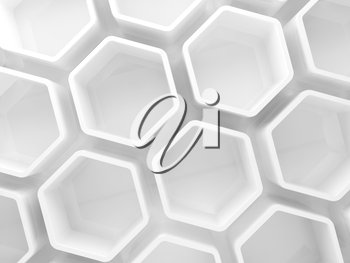 Abstract white honeycomb installation background, 3d illustration