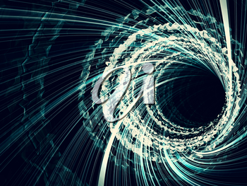 Abstract dark digital background, tunnel with glowing blue spiral lines, 3d illustration