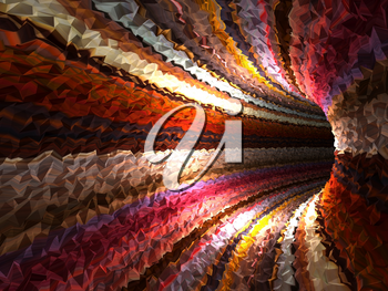 Abstract colorful digital background, empty dark triangulated tunnel, 3d render illustration
