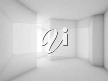 Abstract white room interior background. 3d render illustration, double exposure effect