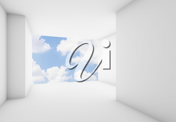 Abstract white interior background, empty room with clouds on blue sky in blank window. 3d illustration