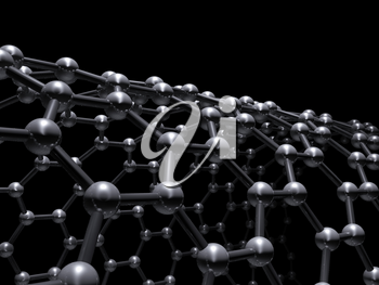 Single-walled zigzag carbon nanotubes molecular scheme, carbon atoms connected in wrapped hexagonal lattice isolated on black background, 3d illustration