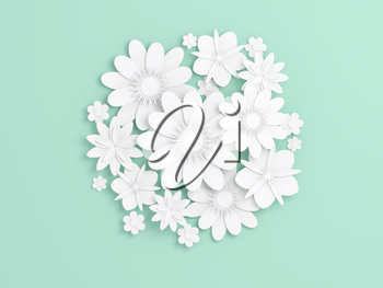 White paper flowers decoration on light green backdrop, bridal greeting card, ornamental background. Digital 3d render illustration