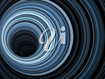 Abstract background, tunnel of glowing blue rings, 3d render illustration
