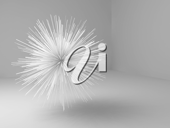 Abstract sharp star shaped object flying in empty white room, 3d illustration