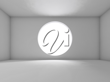 Abstract white interior, empty room with round window, front view. Background, 3d illustration