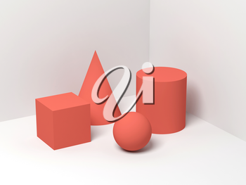 Abstract still life with simple geometric shapes on white background. 3d render illustration
