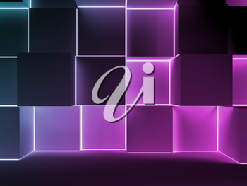 Abstract dark digital background with colorful glowing cubes installation. 3d illustration