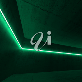 Empty dark concrete interior with green neon light line, square 3d render illustration