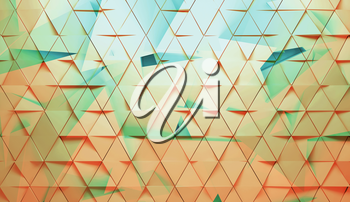 Abstract digital geometric pattern, colorful polygonal background, 3d render illustration