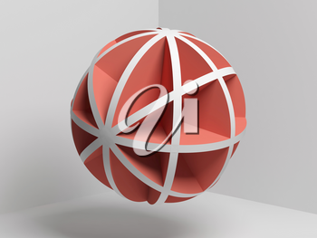 Abstract red white compound spherical object over empty room background, 3d render illustration