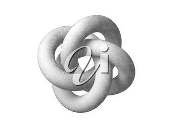Torus knot geometrical representation. Abstract object isolated on white background. Graphite pencil stylized 3d rendering illustration