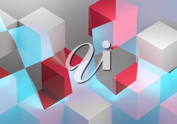 Abstract digital graphic background, intersected white, blue and red cubes structures. 3d rendering illustration