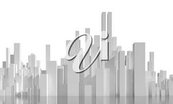 Abstract cityscape isolated on white background. Digital model with geometric tall white skyscrapers, 3d rendering illustration
