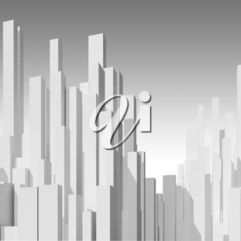 Abstract white city skyline background. Digital model with primitive blank skyscrapers, square 3d rendering illustration