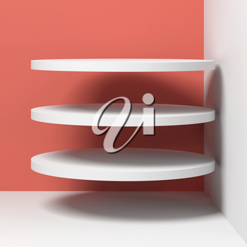 Three flying white cylindrical objects are in empty corner, square 3d rendering illustration
