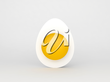 Half of a white chicken egg with whole yolk standing over white background, 3d rendering illustration