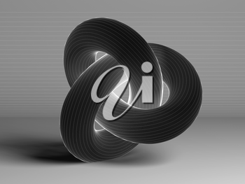 Black torus knot with white wire-frame lines, geometrical representation of parametric surface over gray background. 3d rendering illustration