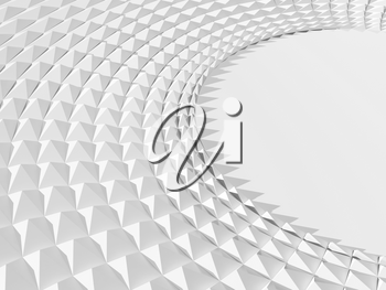 Abstract white geometric background with parametric triangular round structure. Relief pattern with copy-space blank area on a right side, 3d rendering illustration