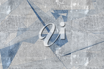 Abstract polygonal background texture, pattern with blue drawing over gray concrete wall. 3d rendering illustration