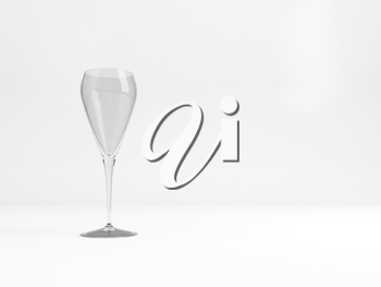 Empty sparkling wine tulip glass with soft shadow stands over white background, 3d rendering illustration
