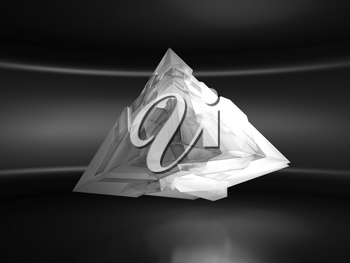 Abstract white flying pyramid crystal object with chaotic fragmentation is in an empty dark interior, 3d rendering illustration