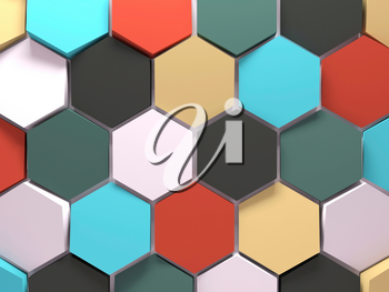 Abstract colorful background pattern with honeycomb blocks, front view. 3d render illustration