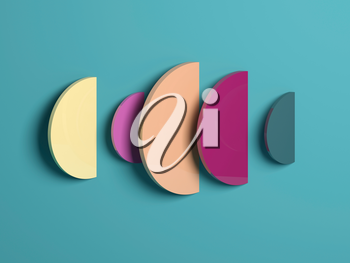 Abstract minimal colorful installation over flat background, 3d rendering illustration