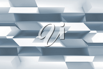 Abstract blue and white digital background with geometric pattern. 3d rendering illustration