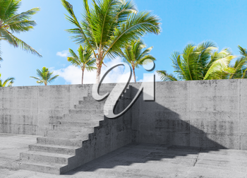 Concrete stairs goes up on the wall with palm trees behind, mixed media with 3d rendering illustration