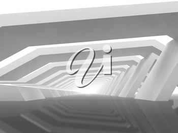 Abstract digital background with empty white endless tunnel perspective. 3d rendering illustration