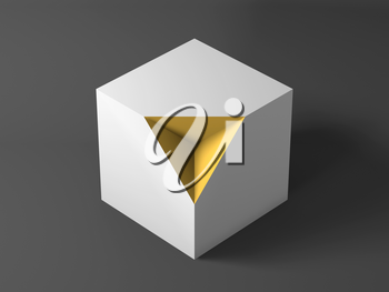 Abstract minimal object, cgi installation, white cube with yellow pyramid shaped section. 3d rendering illustration