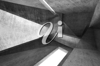 Abstract dark background, intersected concrete structures, digital  illustration with double exposure effect, mixed media, 3d rendering illustration