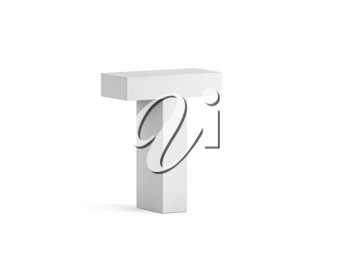 White bold letter T isolated on white background with soft shadow, 3d rendering illustration