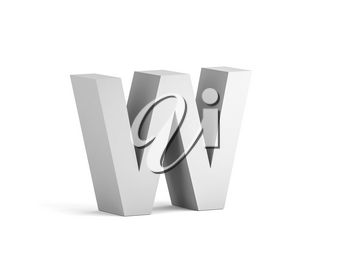 White bold letter W isolated on white background with soft shadow, 3d rendering illustration