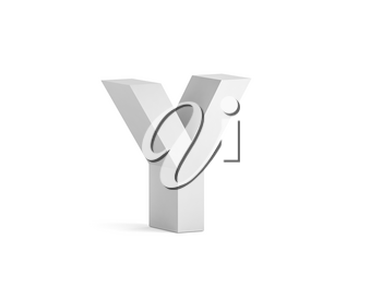 White bold letter Y isolated on white background with soft shadow, 3d rendering illustration
