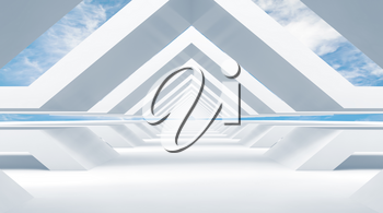 Abstract empty white tunnel perspective with cloudy sky on a background. 3d rendering illustration