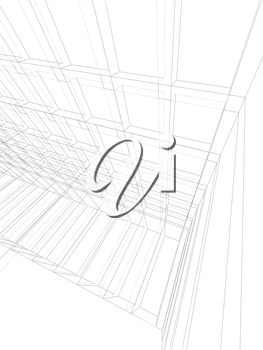 Vertical digital background, empty 3d room interior structure, wire frame lines over white background