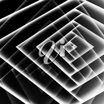 Abstract black geometric background with white corners pattern, 3d illustration, multi exposure effect