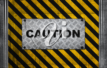 Caution label metal panel on black and yellow striped pattern of industrial concrete wall