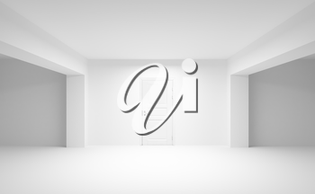 Abstract empty interior with white door. 3d illustration