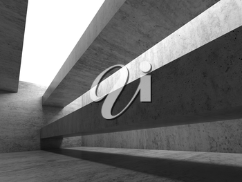 Abstract empty concrete interior. Modern architecture background, 3d render illustration