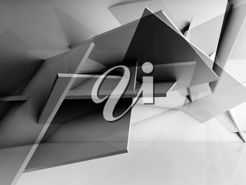 Abstract cg background. Chaotically polygonal structure installation. 3d illustration, computer graphic
