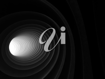 Abstract digital background, black bent spiral tunnel interior with light in glowing end, 3d illustration
