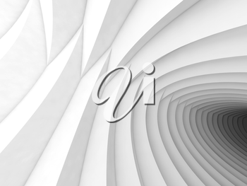 Abstract geometric background with white  tunnel of intersected helix shapes, 3d illustration