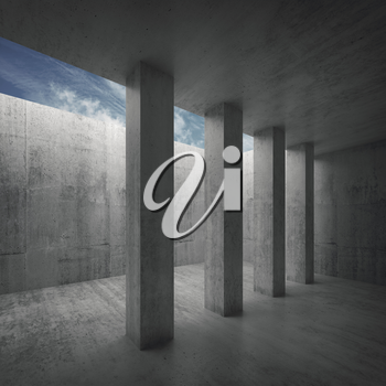 Abstract architecture background, empty concrete room interior with columns and cloudy sky outside, 3d illustration